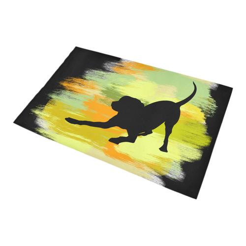 Dog Playing Please Painting Shape Bath Rug 20''x 32''