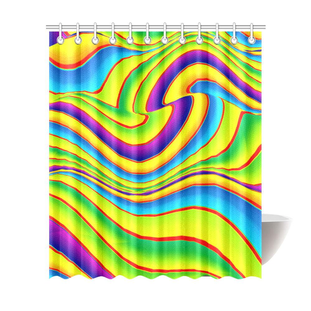 """Summer Wave Colors Shower Curtain 72""""x84"""""""