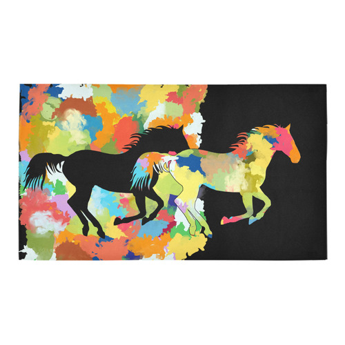 Horse  Shape Galloping out of Colorful Splash Bath Rug 16''x 28''