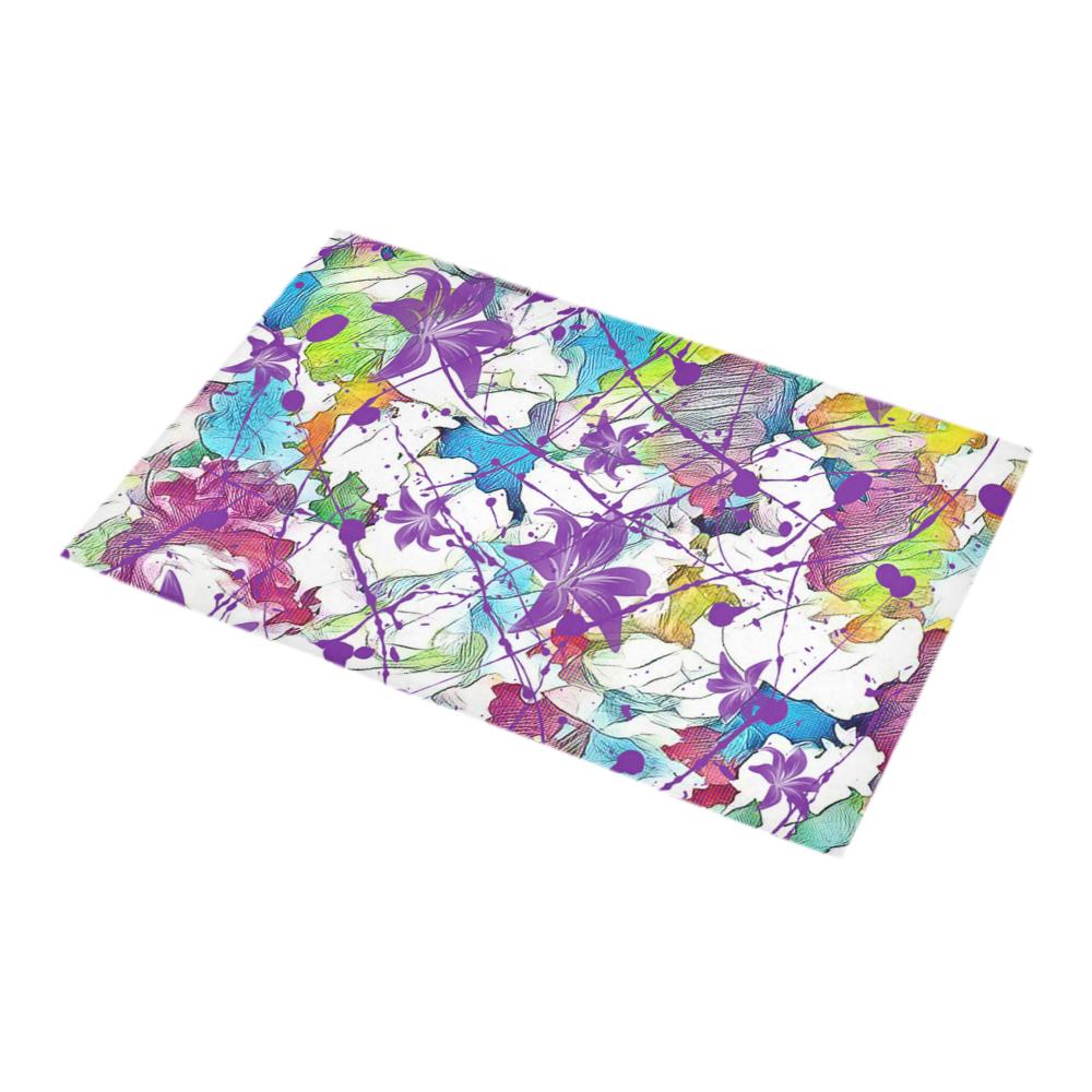 Lilac Lillis Abtract Splash Bath Rug 16''x 28''