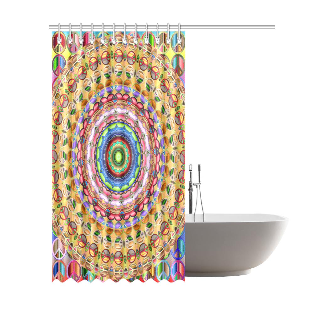 """Peace Mandala Shower Curtain 69""""x84"""""""
