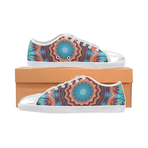 Blue Feather Mandala Women's Canvas Shoes (Model 016)
