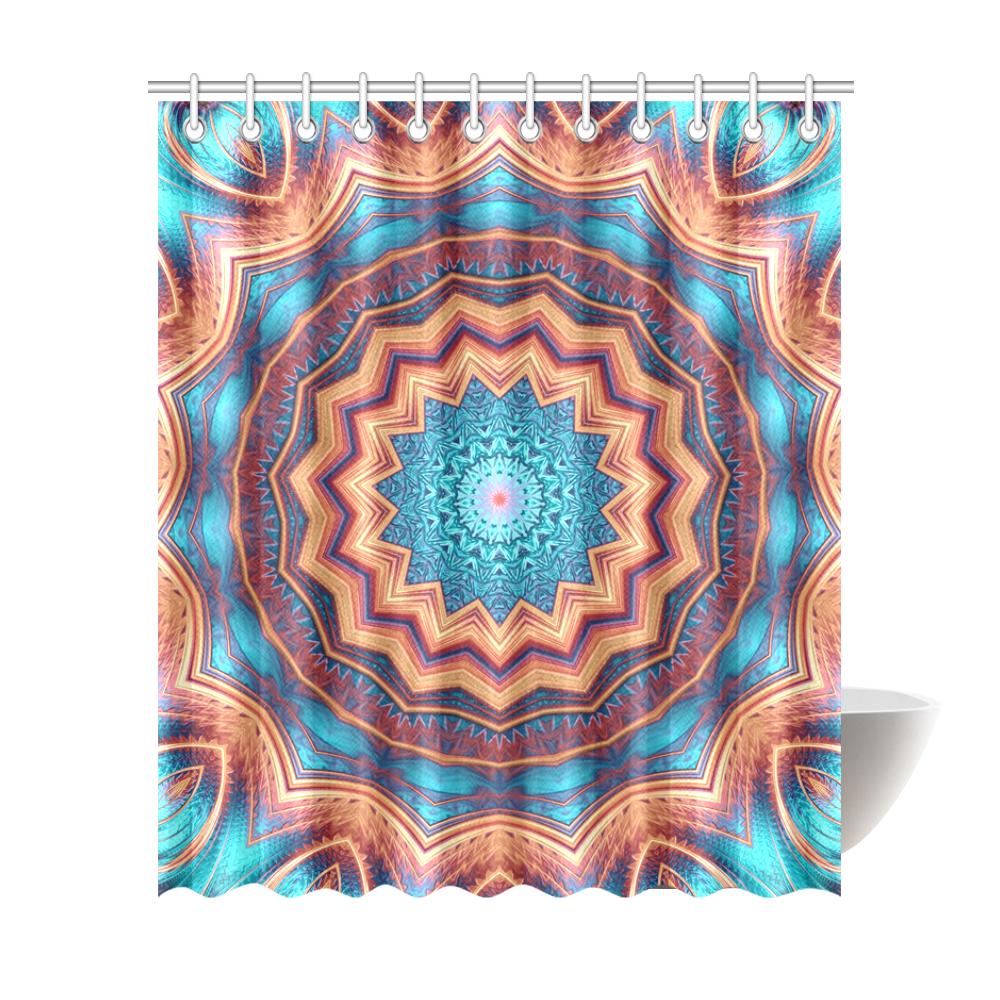 "Blue Feather Mandala Shower Curtain 72""x84"""