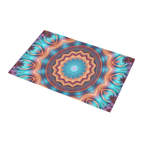 Blue Feather Mandala Bath Rug 16''x 28''