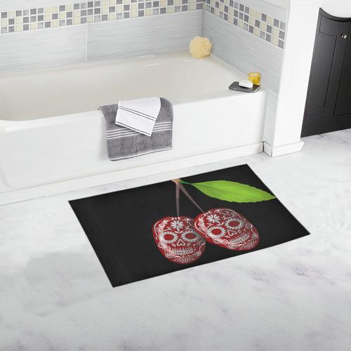Cherry Sugar Skull Bath Rug 16''x 28''