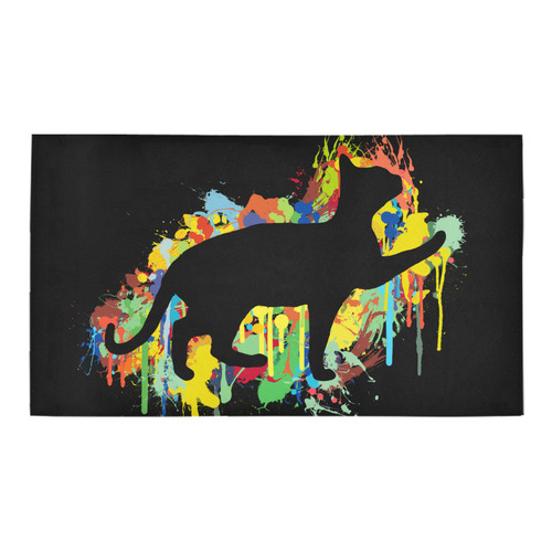 Lovely Cat Colorful Painting Splash Bath Rug 16''x 28''