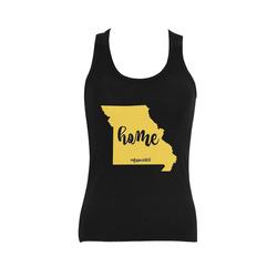 Missouri Girl home gold black Women's Shoulder-Free Tank Top (Model T35)