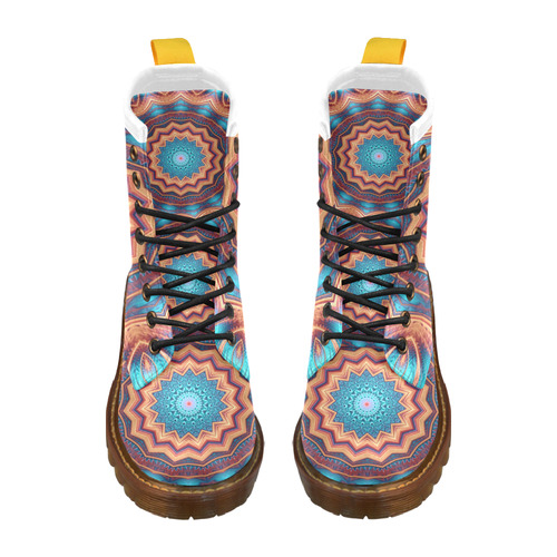 Blue Feather Mandala High Grade PU Leather Martin Boots For Men Model 402H
