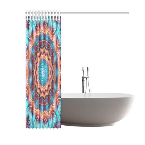 "Blue Feather Mandala Shower Curtain 60""x72"""