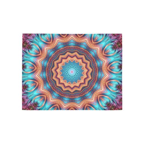 Blue Feather Mandala Area Rug 5'3''x4'