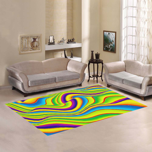 Summer Wave Colors Area Rug7'x5'