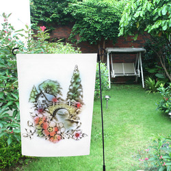 Vintage Home and Flower Garden with Bridge Garden Flag 12''x18''(Without Flagpole)