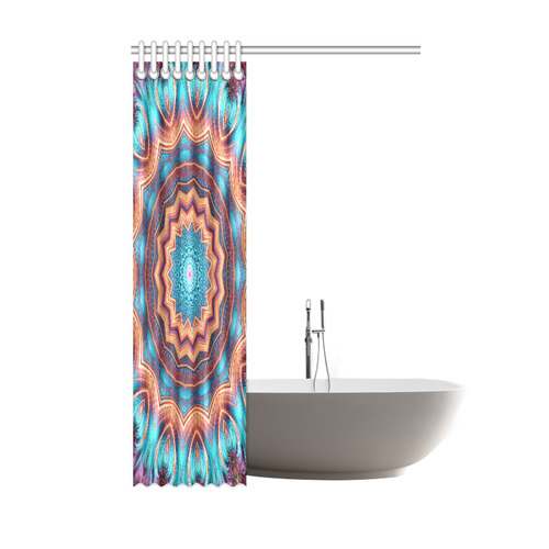 "Blue Feather Mandala Shower Curtain 48""x72"""