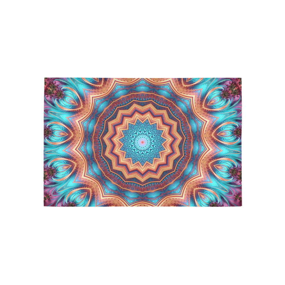 Blue Feather Mandala Area Rug 5'x3'3''