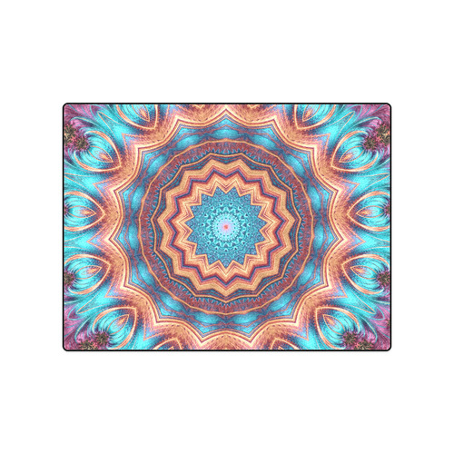 "Blue Feather Mandala Blanket 50""x60"""