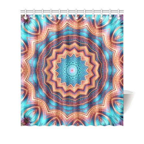 "Blue Feather Mandala Shower Curtain 66""x72"""
