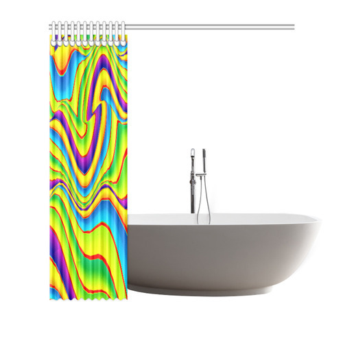 "Summer Wave Colors Shower Curtain 72""x72"""