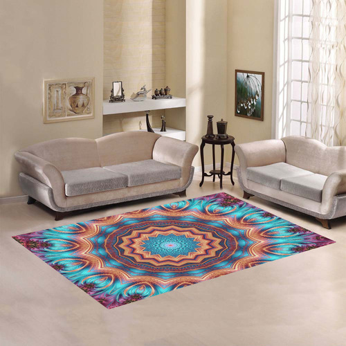 Blue Feather Mandala Area Rug7'x5'