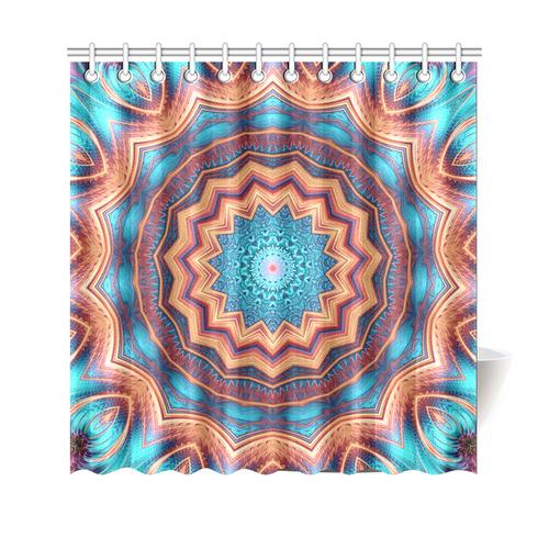 "Blue Feather Mandala Shower Curtain 69""x70"""