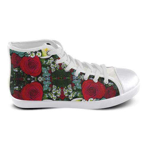 Calla Lilies Roses Daisies Liatris Bouquet Women's High Top Canvas Shoes (Model 002)