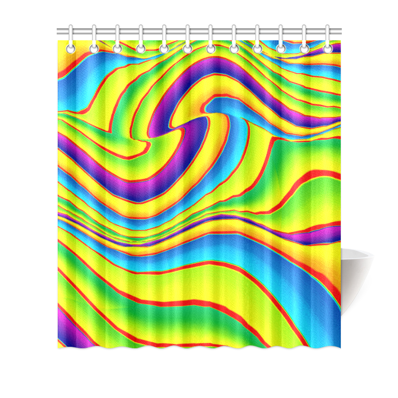 """Summer Wave Colors Shower Curtain 66""""x72"""""""
