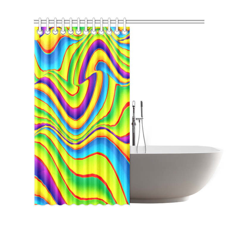 "Summer Wave Colors Shower Curtain 69""x70"""