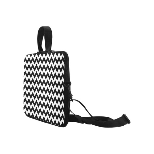"Black White Chevron Laptop Handbags 17"""