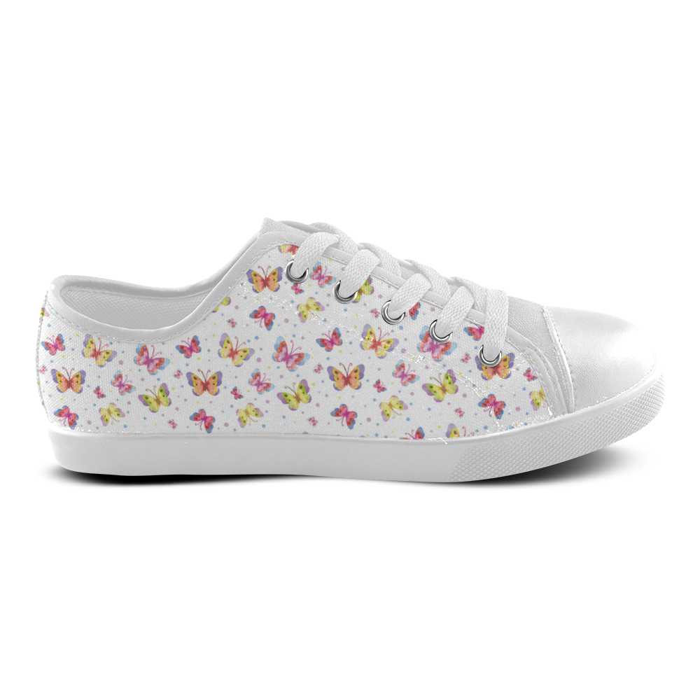Watercolor Butterflies Canvas Kid's Shoes (Model 016)
