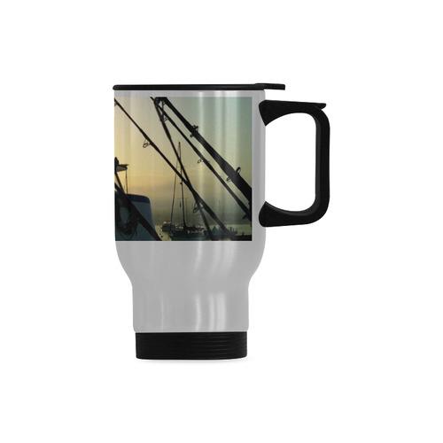Fishing At Dawn Travel Mug (Silver) (14 Oz)