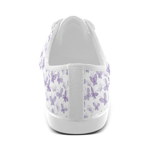Cute Purple Butterflies Canvas Kid's Shoes (Model 016)