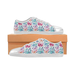 Watercolor Colorful Butterflies Canvas Kid's Shoes (Model 016)
