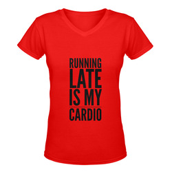Running Late Is My Cardio Women's Deep V-neck T-shirt (Model T19)