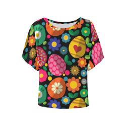 Easter Egg Pattern Pink Orange Green Women's Batwing-Sleeved Blouse T shirt (Model T44)