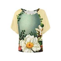 Vintage Easter Floral Women's Batwing-Sleeved Blouse T shirt (Model T44)