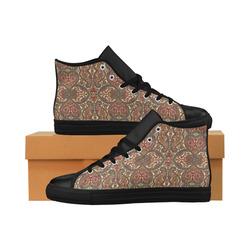 Shiny Rhinestone Hearts Aquila High Top Microfiber Leather Women's Shoes (Model 032)