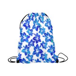 "blue hibiscus Large Drawstring Bag Model 1604 (Twin Sides)  16.5""(W) * 19.3""(H)"