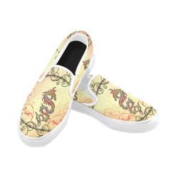 Chinese dragon Women's Unusual Slip-on Canvas Shoes (Model 019)