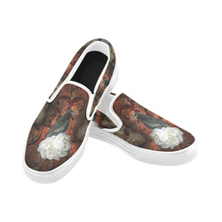 The crow with skulls Women's Unusual Slip-on Canvas Shoes (Model 019)