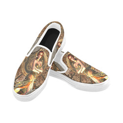 Steampunk lady with gears and clocks Women's Unusual Slip-on Canvas Shoes (Model 019)