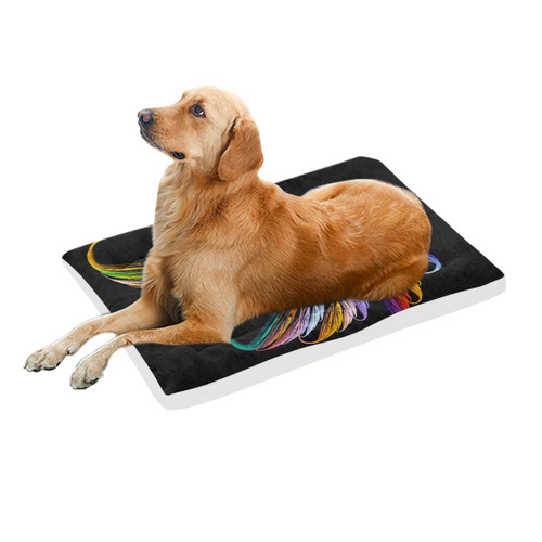 """Colorful Fractal Embroidery Pet Bed 36""""x23"""""""