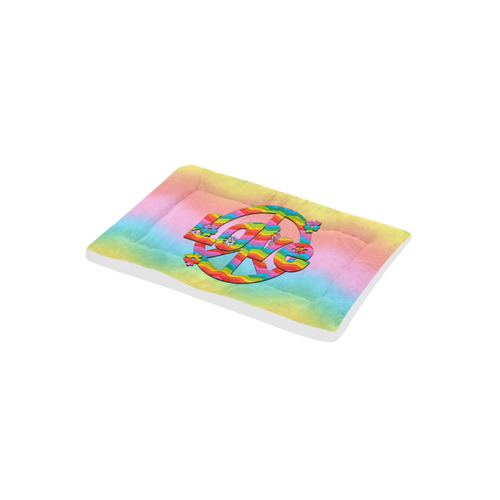 """Colorful Love and Peace Background Pet Bed 24""""x13"""""""