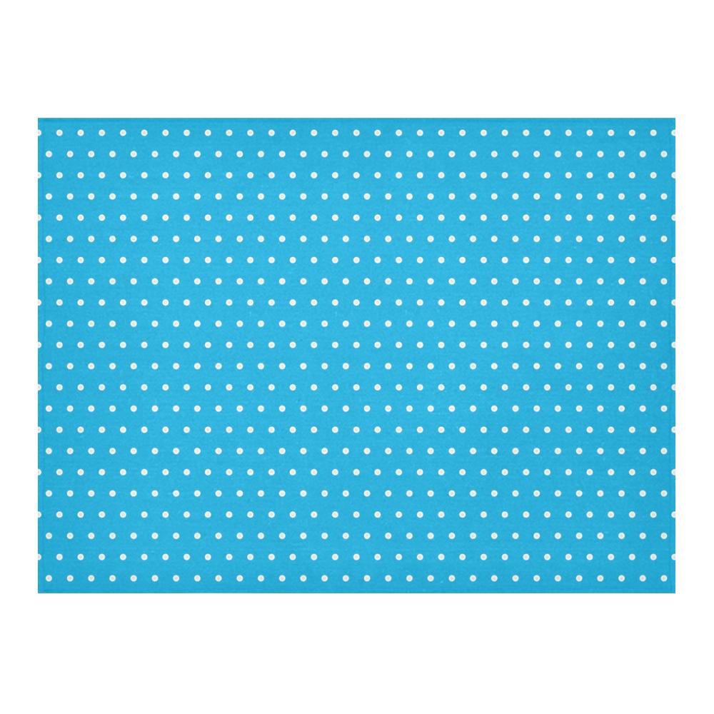 """Polka Dot Pin SkyBlue - Jera Nour Cotton Linen Tablecloth 52""""x 70"""""""