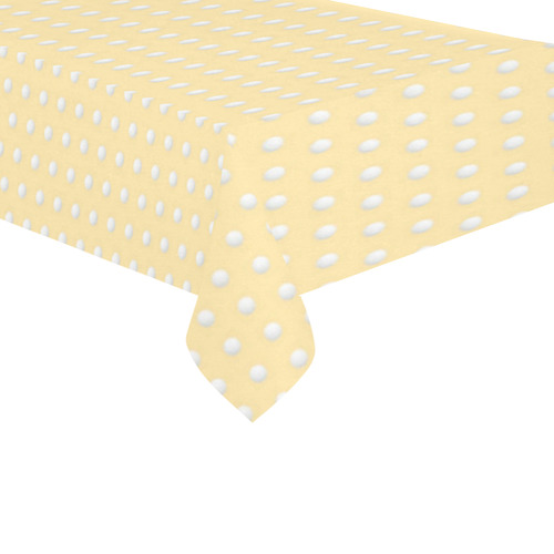 "Polka Dot Pin Pastel Orange - Jera Nour Cotton Linen Tablecloth 60""x 104"""