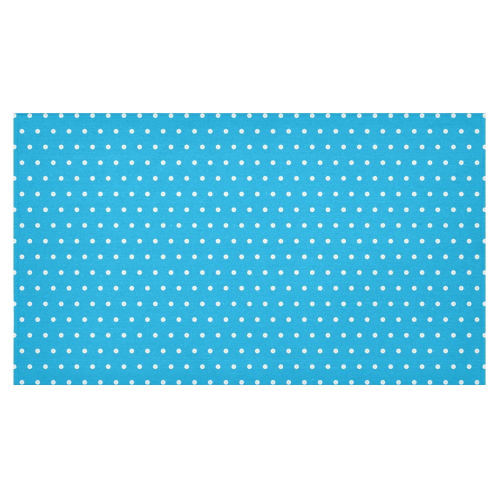 """Polka Dot Pin SkyBlue - Jera Nour Cotton Linen Tablecloth 60""""x 104"""""""
