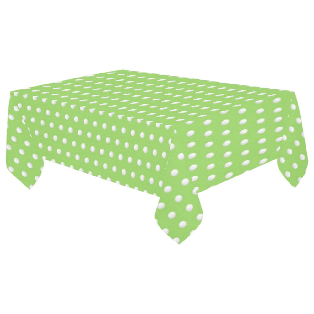 """Polka Dot Pin Lime - Jera Nour Cotton Linen Tablecloth 60""""x 104"""""""