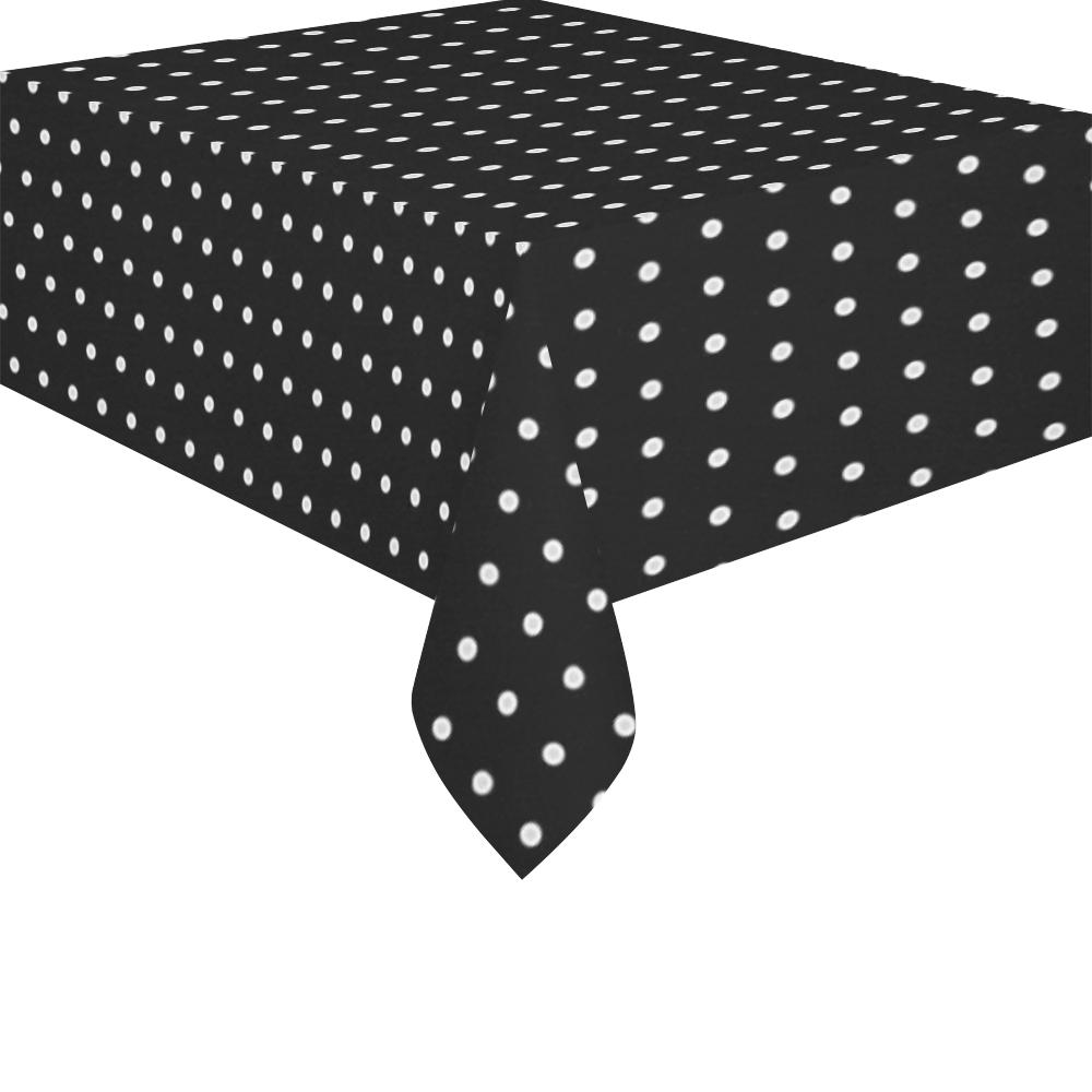 """Polka Dot Pin Black - Jera Nour Cotton Linen Tablecloth 52""""x 70"""""""