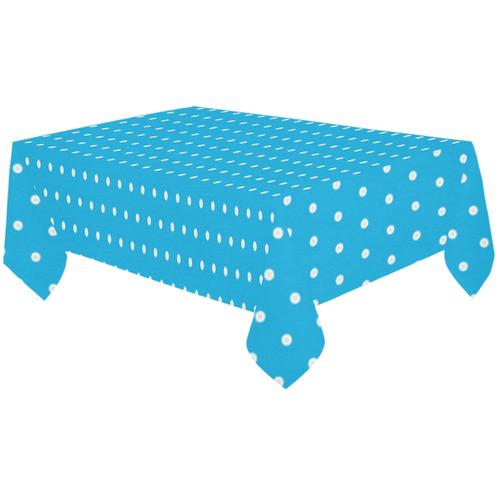 """Polka Dot Pin SkyBlue - Jera Nour Cotton Linen Tablecloth 60""""x120"""""""