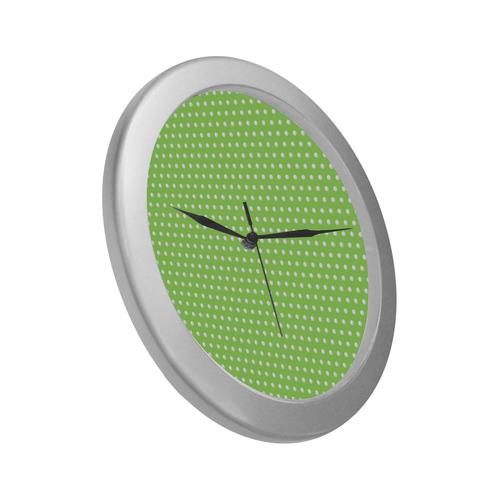 Polka Dot Pin Lime - Jera Nour Silver Color Wall Clock