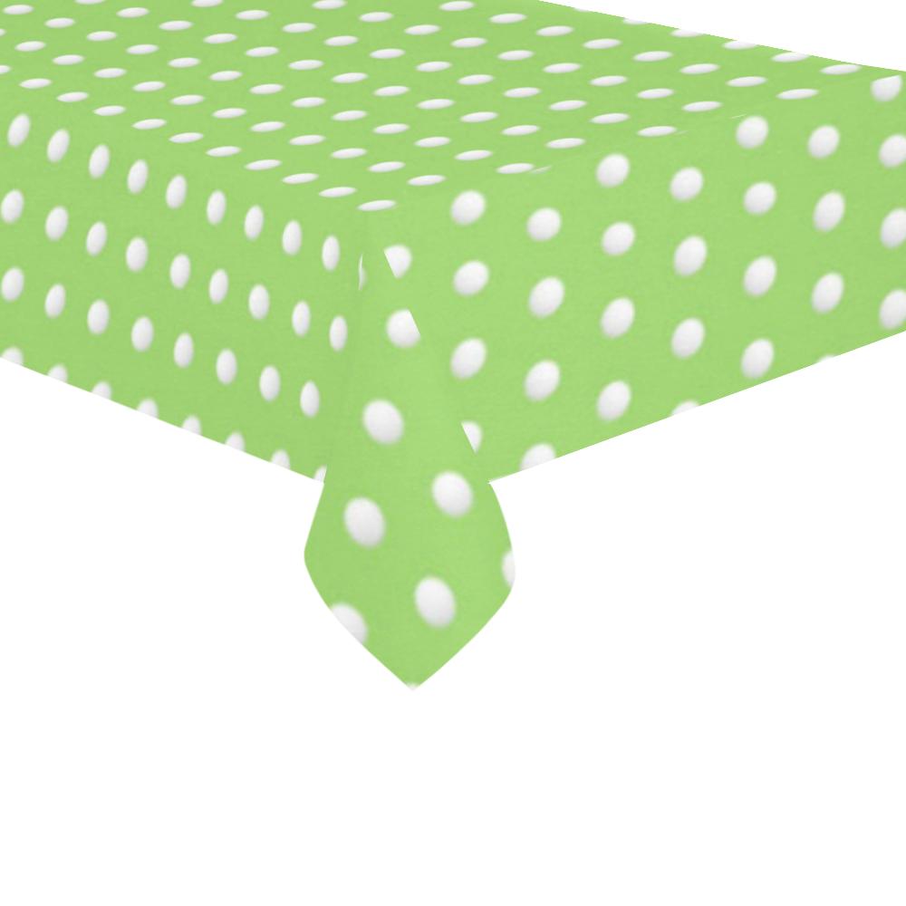 """Polka Dot Pin Lime - Jera Nour Cotton Linen Tablecloth 60""""x120"""""""