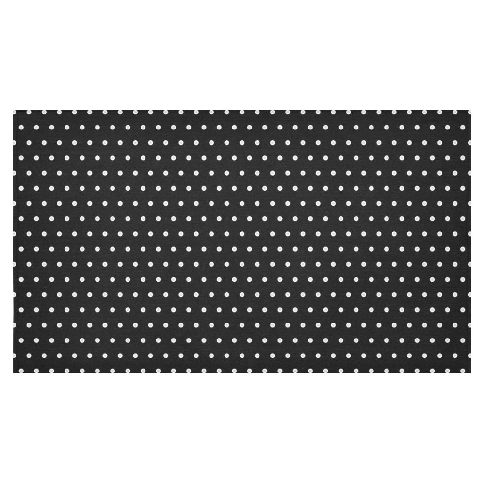 "Polka Dot Pin Black - Jera Nour Cotton Linen Tablecloth 60""x 104"""